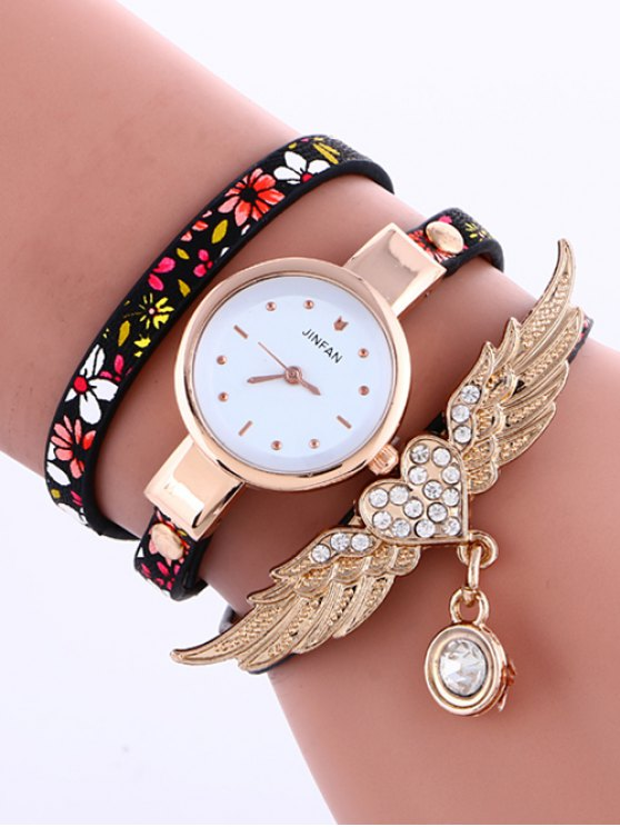 Heart Wings Layered Watch - BLACK  Mobile