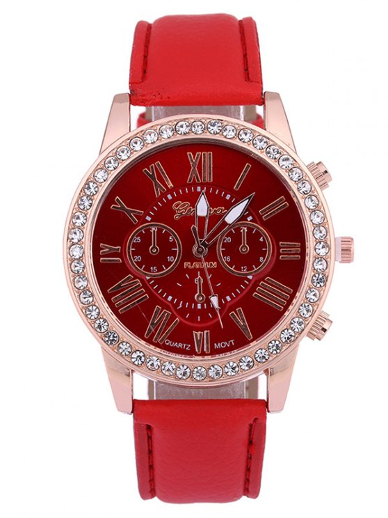 chic Numerals PU Leather Rhinestone Studded Quartz Watch - RED
