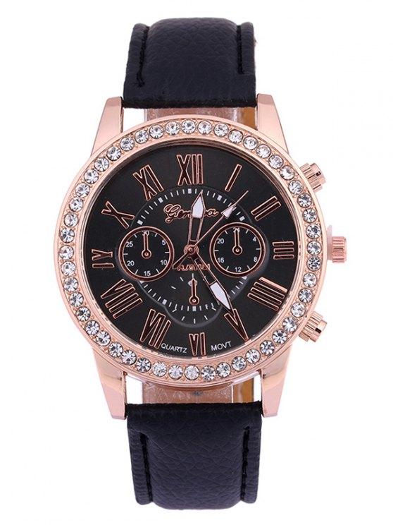 sale Numerals PU Leather Rhinestone Studded Quartz Watch - BLACK