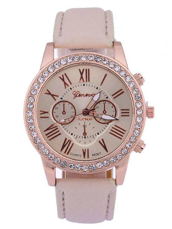 Números PU de Cuero de Tachonado de Diamante Reloj de Cuarzo - RAL1001 Beis