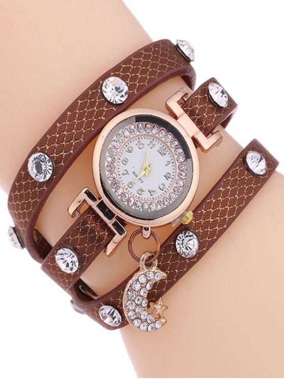 sale Rhinestone Moon Layered Watch - GOLD BROWN