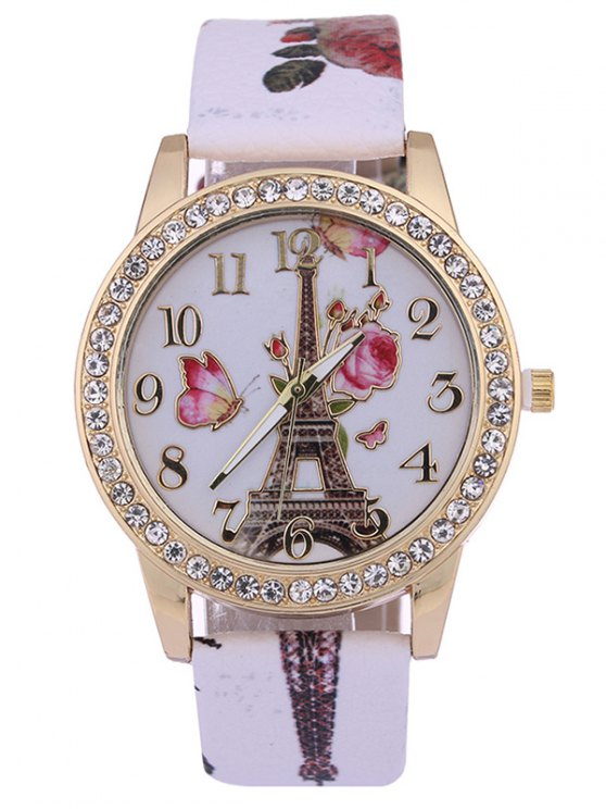 lady Rose Tower Printed PU Leather Rhinestone Studded Watch - WHITE
