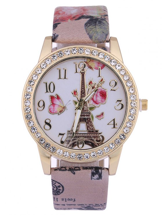 shops Rose Tower Printed PU Leather Rhinestone Studded Watch - BROWN