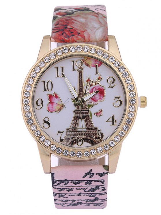 outfit Rose Tower Printed PU Leather Rhinestone Studded Watch - PINK