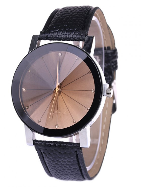 buy Personality Analog PU Leather Watch - BLACK