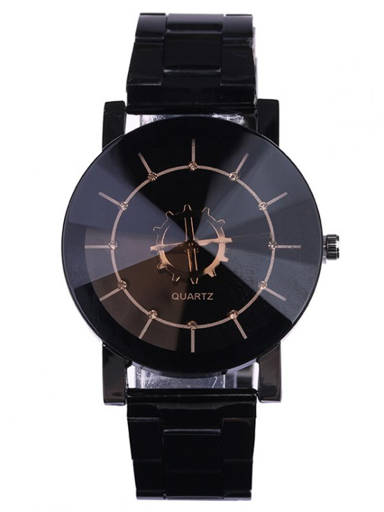 Personality Stainless Steel Strap Couple Quartz Watch - BLACK  Mobile