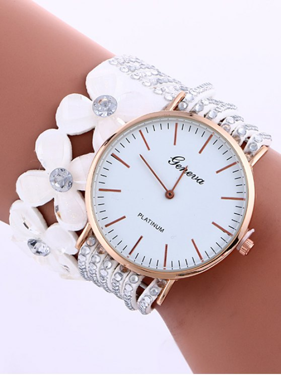 latest Layered Flower Rhinestone Studded PU Leather Watch - WHITE