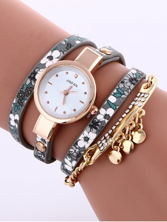 Floral Printed Layered Rhinestone Studded PU Leather Watch - GRAY  Mobile