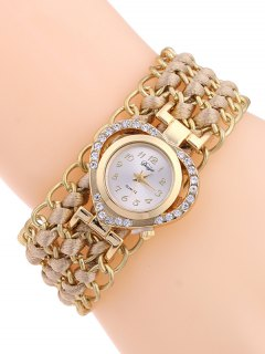 Rhinestone Heart Watch - Yellowish Pink