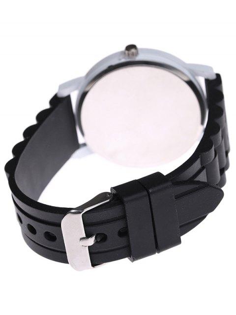 fashion Sport Round Silicone Watch - BLACK  Mobile