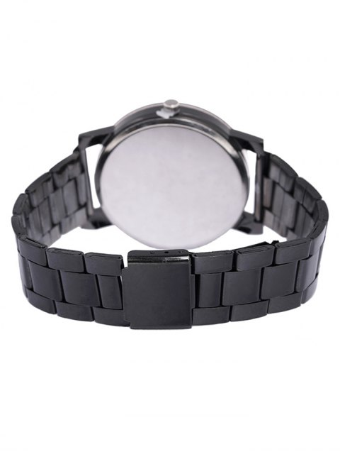 trendy Personality Stainless Steel Strap Couple Quartz Watch - BLACK  Mobile