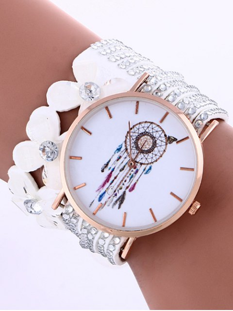 womens Feather Mesh Layered Flower Rhinestone Studded PU Leather Watch - WHITE  Mobile