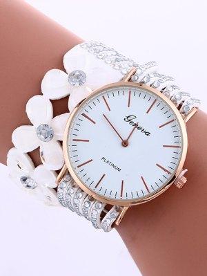 Layered Flower Rhinestone Studded PU Leather Watch - White