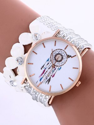 Feather Mesh Layered Flower Rhinestone Studded PU Leather Watch - White