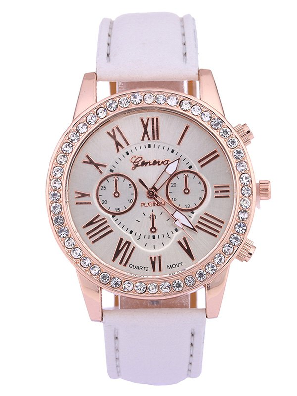Numerals Faux Leather Rhinestone Studded Quartz Watch