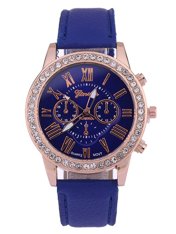 Rhinestone Studded Numerals Quartz Watch