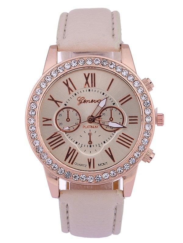 Rhinestone Studded Numerals Quartz Watch