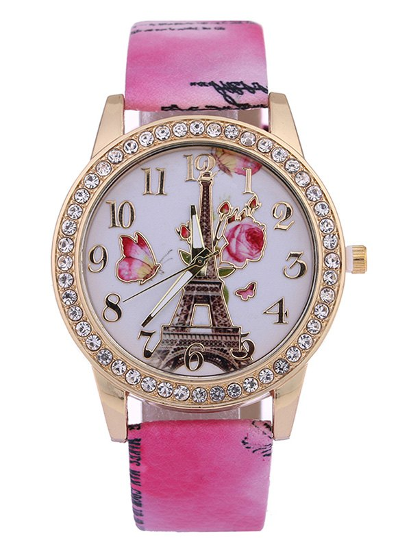 Printed PU Leather Rhinestone Rose Tower Watch