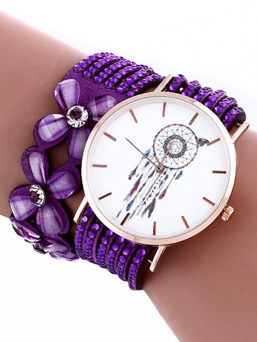 Flower Rhinestone Studded Layered PU Leather Watch