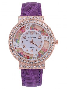 PU Leather Colorful Beads Rhinestone Studded Watch