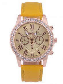 Numerals PU Leather Rhinestone Studded Quartz Watch