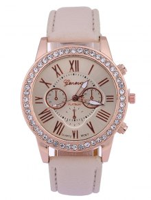 Numerals PU Leather Rhinestone Studded Quartz Watch - Beige