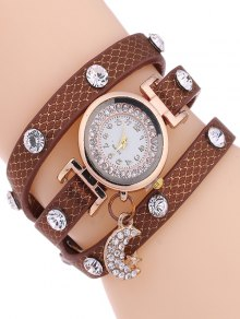 Rhinestone Moon Layered Watch - Gold Brown