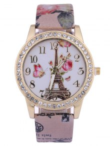 Rose Tower Printed PU Leather Rhinestone Studded Watch