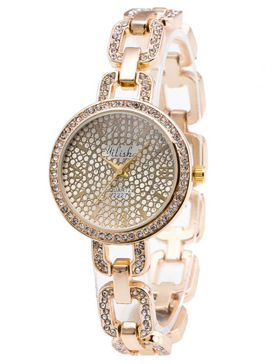 Alloy Rhinestone Chain Bracelet Watch - GOLDEN  Mobile
