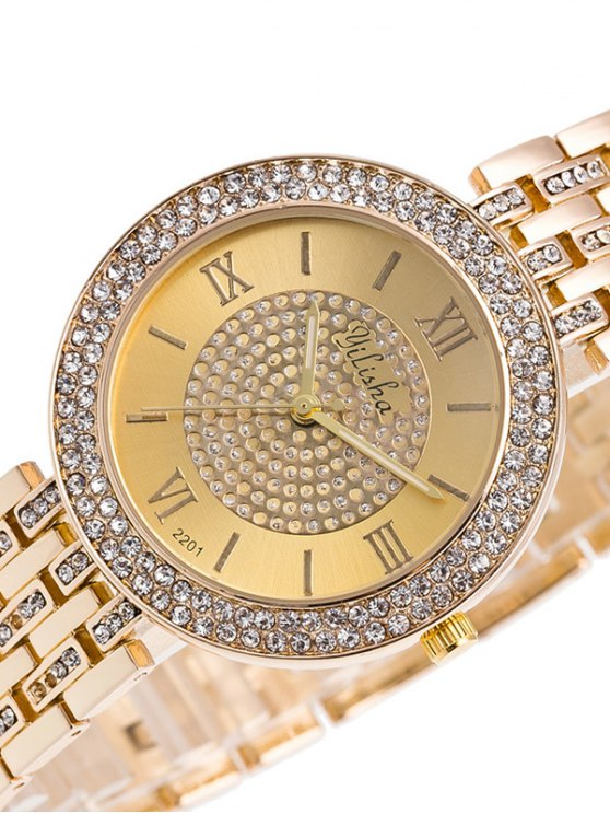 Rhinestoned Roman Numerals Adorn Quartz Watch - GOLDEN  Mobile