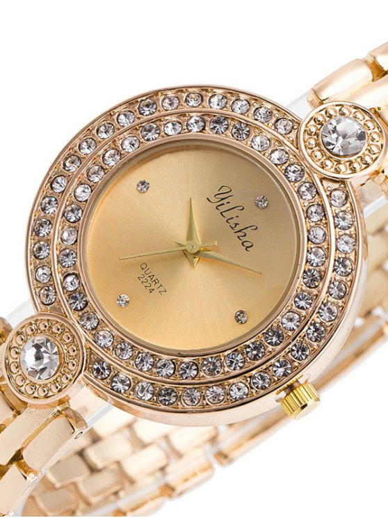 Artificial Gemstone Steel Band Quartz Watch - GOLDEN  Mobile