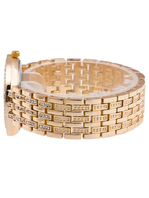 hot Rhinestoned Roman Numerals Adorn Quartz Watch - GOLDEN  Mobile