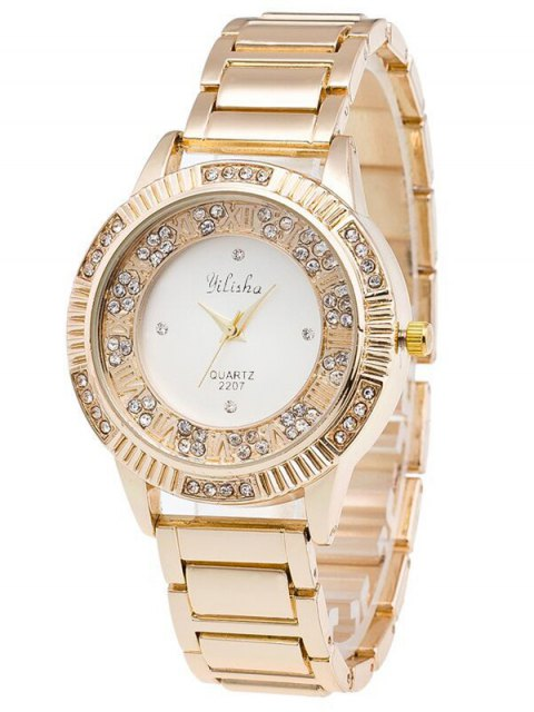 shops Steel Band Rhinestone Watch - GOLDEN  Mobile