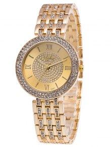 Rhinestoned Roman Numerals Adorn Quartz Watch - Golden