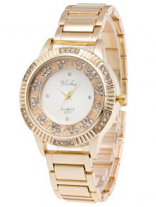 Steel Band Rhinestone Watch - Golden