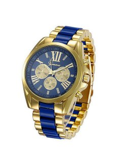 Roman Numerals Steel Watch - Blue