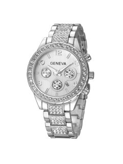 Rhinestone Steel Watch - Silver
