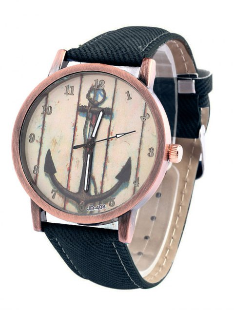 womens Vintage Anchor Pattern Watch - DEEP BLUE  Mobile