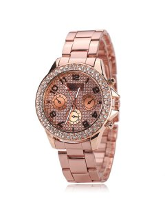 Rhinestone Analog Digital Steel Band Watch - Rose Gold