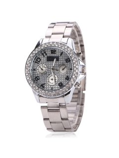 Rhinestone Analog Digital Steel Band Watch - Silver