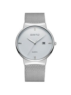GIMTO Rhinestone Steel Quartz Wrist Watch - Silver