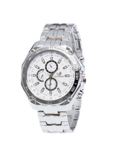 Stainless Steel Analog Quartz Watch - White