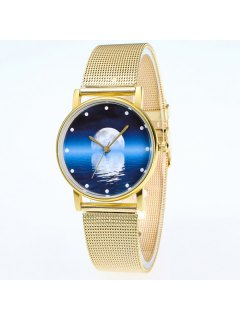 Moon Reflection Dial Stainless Steel Watch - Golden