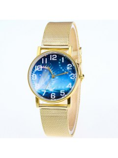 Starry Sky Dial Stainless Steel Watch - Golden