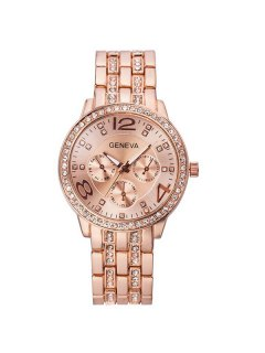 Rhinestoned Stainless Steel Watch - Rose Gold