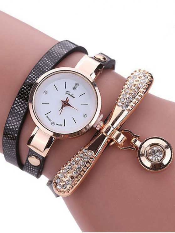 online Rhinestone PU Leather Wristband Bracelet Watch - BLACK