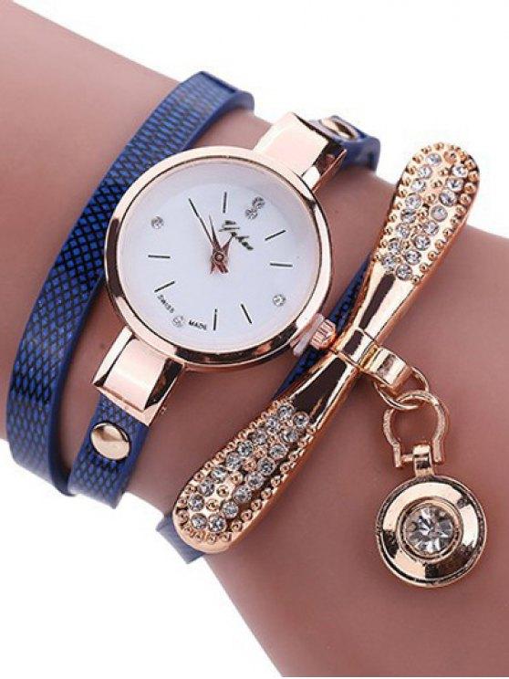 Montre-bracelet a manches en cuir avec faux diamants - Bleu