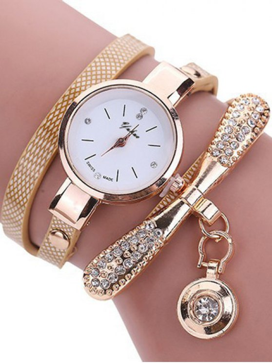 Rhinestone PU Leather Wristband Bracelet Watch - OFF-WHITE  Mobile