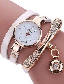 Rhinestone PU Leather Wristband Bracelet Watch
