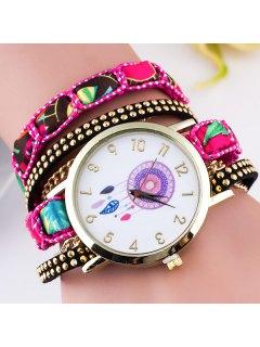 Circle Cadran Plate Bracelet Montre Avec Texture De Plume - Rose